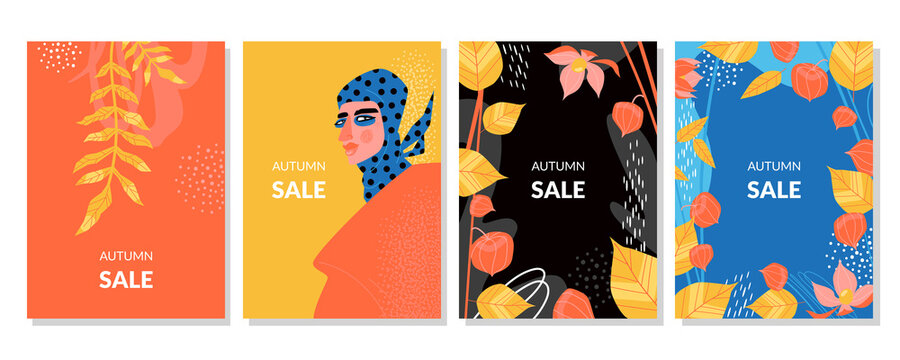 Autumn sale cards or flyers set with falling yellow leaves, physalis and stylish girl in headscarf