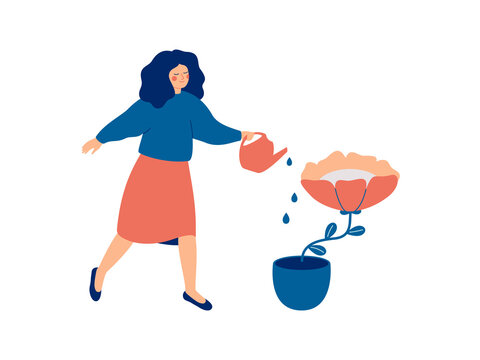 Girl is watering a flower in the pot. Female gardener grows plant. Woman takes care of room floral. Mental health and wellbeing concept. Vector illustration
