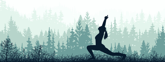 Obraz Horizontal banner. Silhouette of girl practicing yoga on meadow in forrest. Yoga sun salutation. Healthy lifestyle, trees, grass. Magical misty landscape, fog. Blue, gray illustration.  - fototapety do salonu