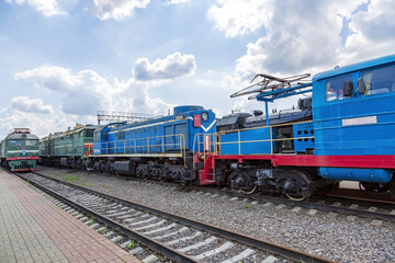 Rare Soviet retro electric locomotive. Exposition area of RZD railway vehicles at Rizhskaya station. Moscow, Russia