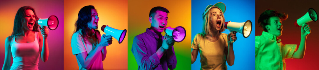 Portraits of group of multiethnic people on multicolored background in neon light, collage.