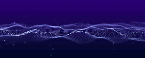 Abstract wave of dots in blue and purple tones. Equalizer for music. 3D rendering.