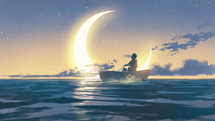 young man rowing a boat in the sea looking at the crescent, digital art style, illustration painting