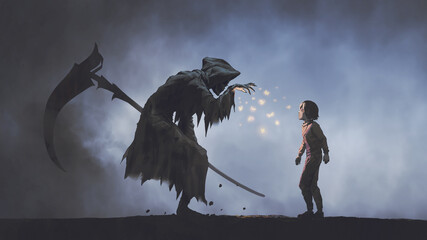 The Death as know as Grim Reaper seducing the child with glowing butterflies, digital art style, illustration painting