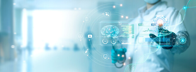 Fototapeta Medicine doctor touching electronic medical record on virtual screen, Brain Analysis, DNA. Digital healthcare and network connection on modern interface, medical technology and futuristic concept. obraz