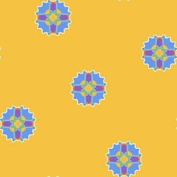 Colorful Mandalas Pattern In Yellow
