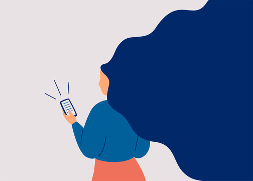 Female reads news on the mobile. Young woman surfing the internet on a smartphone. Girl communicating through the phone. Addiction from social media and the internet. Vector illustration