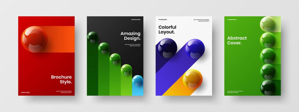 Unique pamphlet A4 design vector illustration bundle. Vivid 3D balls company identity concept composition.