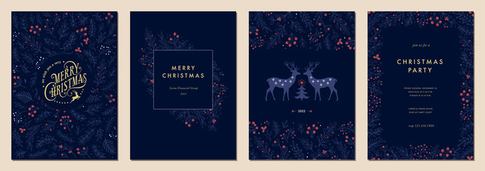 Obraz Modern universal artistic templates. Merry Christmas Corporate Holiday cards and invitations. Floral frames and backgrounds design.  - fototapety do salonu