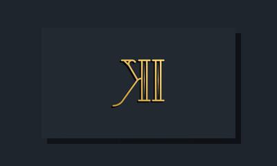 Obraz Minimal Inline style Initial KI logo. - fototapety do salonu