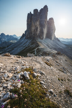 Tre Cime di Laveredo, three spectacular mountain peaks in Sesto Dolomites, South Tyrol, Italy
