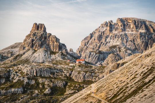 Incredible Nature Landscape around famous Tre Cime di Lavaredo. Rifugio Antonio Locatelli alpine hut popular travel destination in the Dolomites, Italy