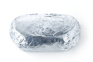 Kebab sandwich. Take away food in foil isolated on white
