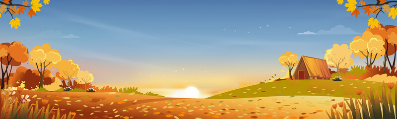 Autumn rural landscape in evening light with sunset, blue and orange sky background,Vector Cartoon fall season at countryside with forest tree and grass field with sunrise,Backdrop natural