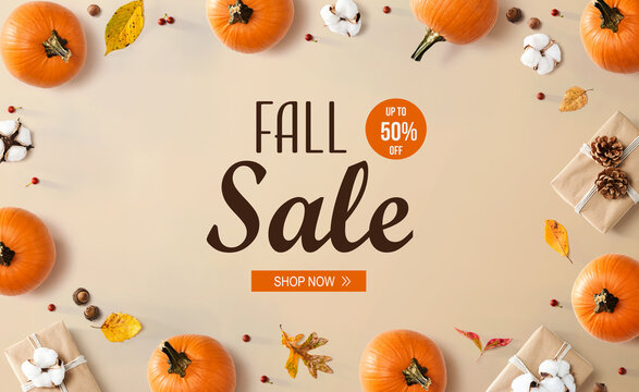 Fall sale banner with autumn pumpkins with present boxes