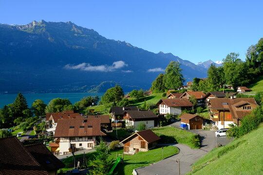 Oberreid village and Brienzersee, Switzerland