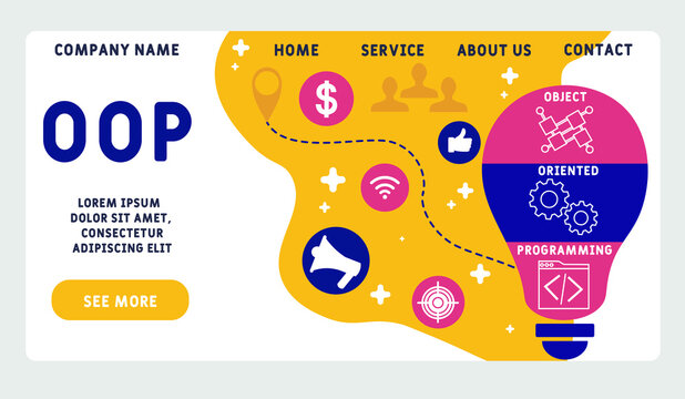 Vector website design template . OOP - Object Oriented Programming acronym. business concept. illustration for website banner, marketing materials, business presentation, online advertising.