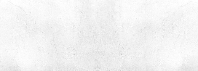 Surface texture of white concrete wall, cement pattern with cracks background with space to copy, panoramic view