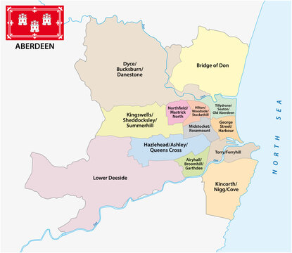 administrative, ward vector map of the Scottish city of Aberdeen