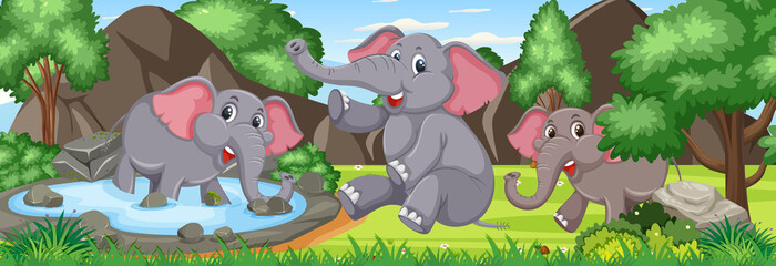 Outdoor panorama scene with many elephants in the forest