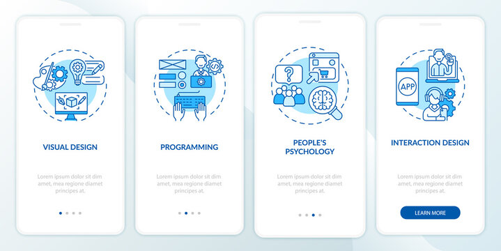 UX design process onboarding mobile app page screen. Visual and interaction design walkthrough 4 steps graphic instructions with concepts. UI, UX, GUI vector template with linear color illustrations