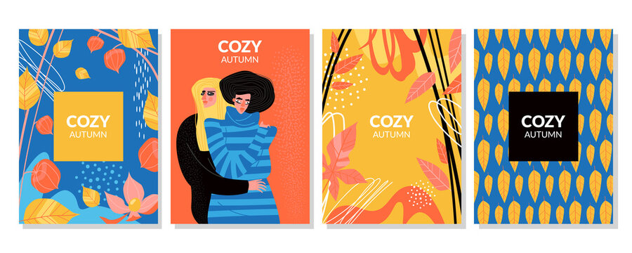 Set of vector cards cozy autumn with yellow and red leaves, physalis and two girls in warm sweaters