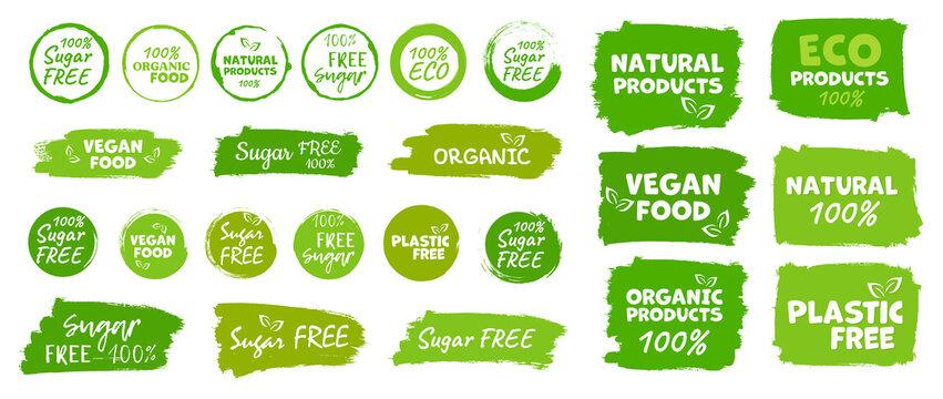Labels and emblems organic, natural, healthy food, fresh and vegetarian food