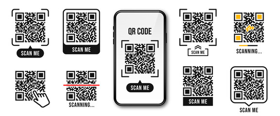QR code, Quick Response code. QR code templates frames. Scan me, scanning tags of QR code. Set of templates for payment, link, application etc.