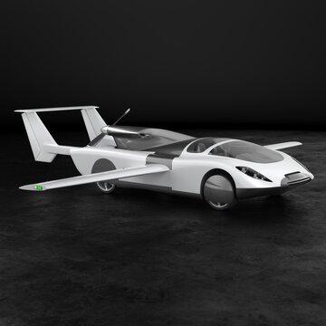 Concept of a flying car. Flying car. Studio render. 3D illustration.