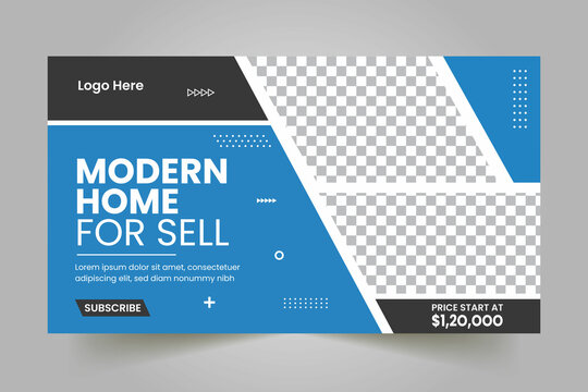 Real Estate Youtube Thumbnail Template Design and Web Banner
