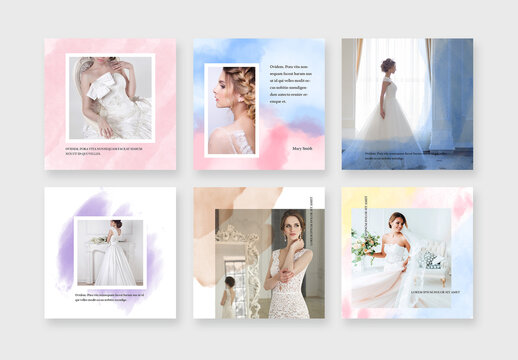 Modern Wedding Social Media Posts with Watercolor Backgrounds