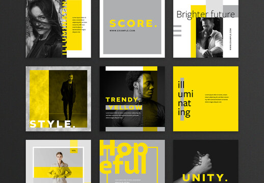 Illuminating Yellow and Grey Social Media Layouts