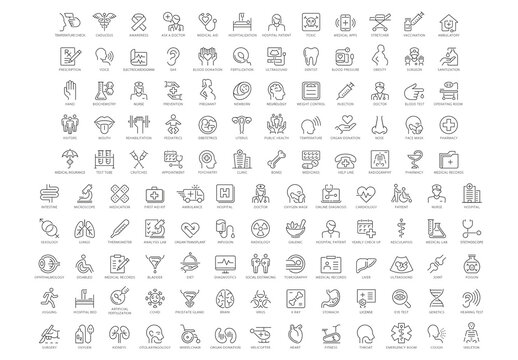 Health and Medical Line Icon Set