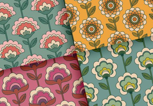 Seamless Retro Flower Patterns Set