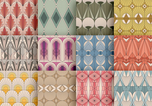 Colorful Patterns Set in Art Deco Style