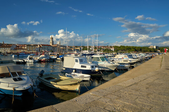 Boats in the port of Krk on the island of the same name Krk on the Adriatic Sea in Croatia