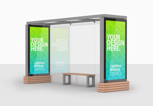 Bus Stop with Two Advertising Lightboxes