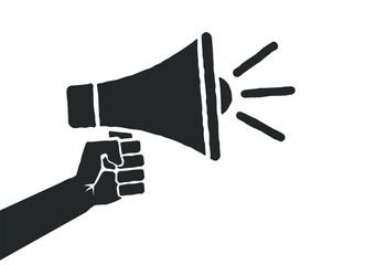 Fototapeta Megaphone music flat style icon shape symbol. Voice sound speech logo silhouette sign. Grunge stamp. Vector illustration image. Isolated on white background. obraz