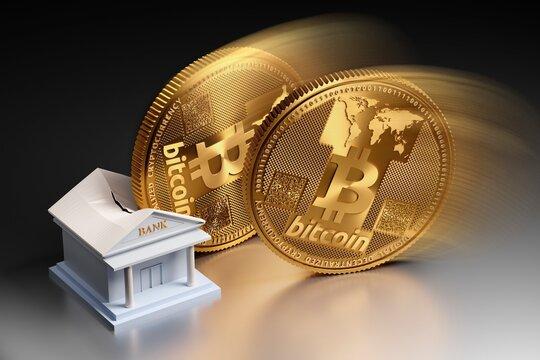 Bitcoin destroying banking, conceptual illustration