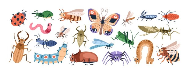 Cute cartoon insect characters set. Funny happy small bugs, butterflies, caterpillars, grasshoppers, beetles, worms, bees and ants. Childish flat vector illustrations isolated on white background