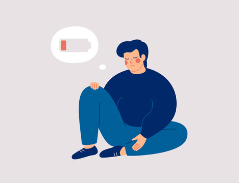 Tired man with overweight hugs his knees and sits with a discharged battery in his thoughts. Fatigued boy is in emotional burnout or mental disorder. Mental disorder or illness concept. Vector