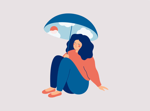 Happy woman sits under an umbrella with good weather and feels of well being. Girl sences good vibes.  Body positive and self love concept. Vector illustration