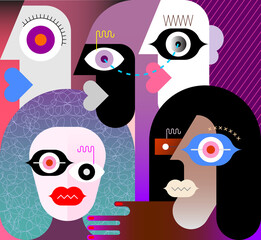 Modern art vector illustration of five different people faces.
