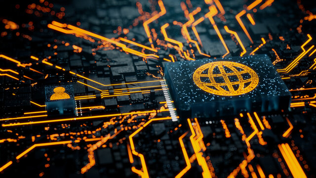 Internet Technology Concept with web symbol on a Microchip. Orange Neon Data flows between the CPU and the User across a Futuristic Motherboard. 3D render.