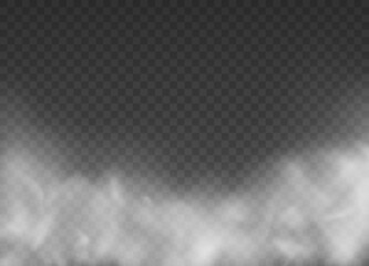 Fototapeta Fog or smoke isolated transparent special effect. Steam texture illustration. White vector cloudiness. obraz