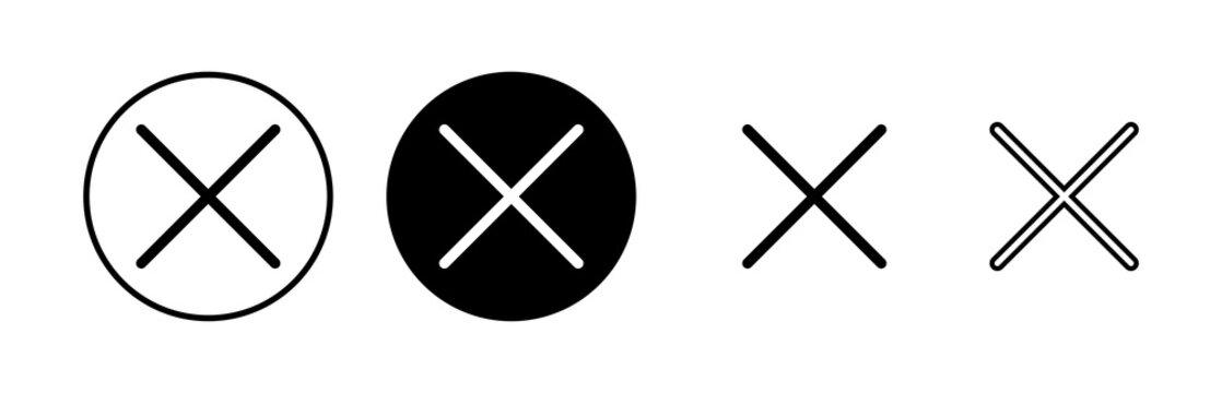 Close icons set. Delete icon. remove, cancel, exit symbol