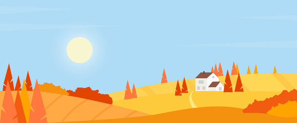 Autumn village countryside landscape vector illustration. Cartoon rustic scene with farm house among fields on hills, road through orange farmfields and trees, sun in blue sky simple background