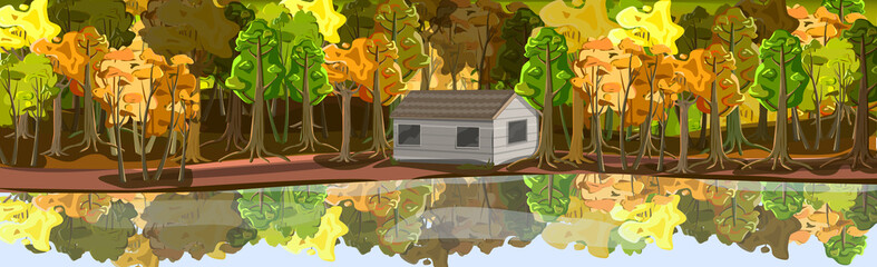 Realistic autumn forest, house by the lake - Vector