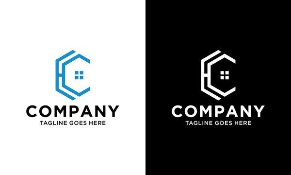 line art hexagon house shape initial letter HC logo design vector template.