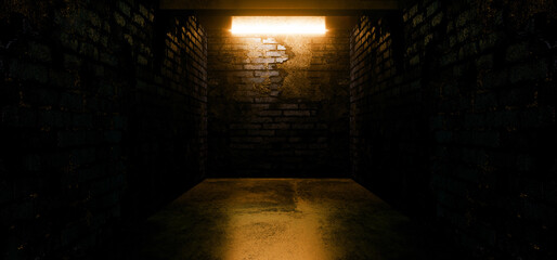 Dark Empty Neon Glowing Yellow Grunge Underground Concrete Studio Club Showroom Corridor Hallway Tunnel Realistic Glossy Car Garage Hangar Night SIgn 3D Rendering